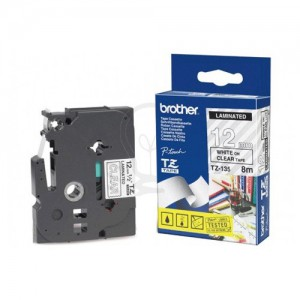 Brother 12MM White on Clear Laminated tape