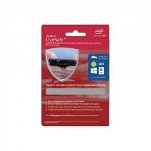 McAfee LiveSafe Physical Activation Card 1-year (English)