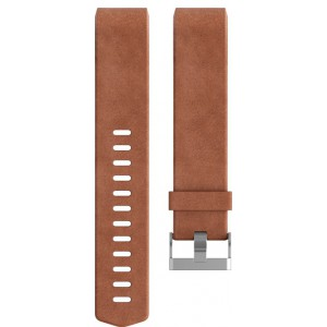 Fitbit Charge 2 Leather Band - Adjustable Replacement Strap - Brown, Large