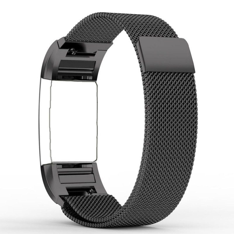Fitbit Charge 2 Stainless Steel Band - Adjustable Replacement Strap with  Magnetic Lock - Black Small - GeeWiz