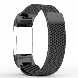 Fitbit Charge 2 Stainless Steel Band - Adjustable Replacement Strap - Milanese Black, Large
