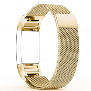 Fitbit Charge 2 Stainless Steel Band - Adjustable Replacement Strap - Milanese Gold
