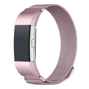 Fitbit Charge 2 Stainless Steel Band - Adjustable Replacement Strap with Magnetic Lock - Rose Pink