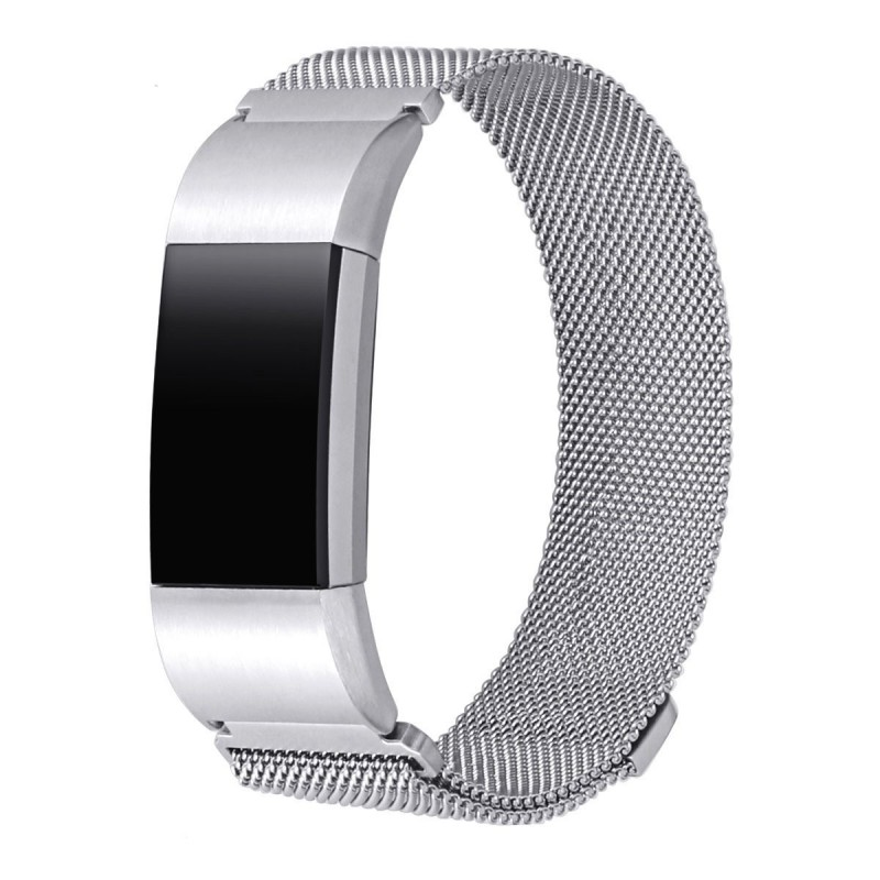 Fitbit Charge 2 Stainless Steel Band - Adjustable Replacement Strap with Magnetic Lock -Silver