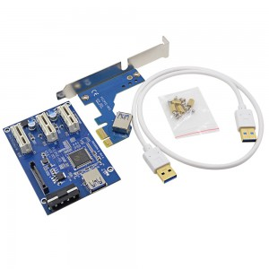 PCI-E Riser Card 1 to 3 PCI express 1X slots Riser Card Switch Multiplier HUB Riser Card + USB Cable