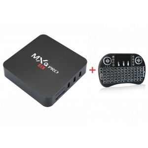 MXQ Pro 4K Smart TV Box + i8 Backlit Mini Wireless Keyboard With Touchpad Infrared Remote Control