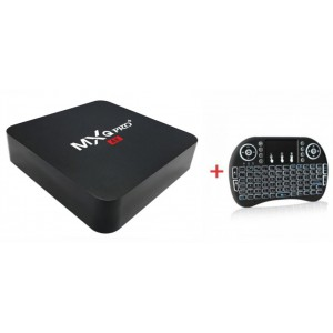 MXQ Pro Plus 2GB / 16GB 4K Smart TV Box + i8 Backlit Mini Wireless Keyboard With Touchpad Infrared Remote Control