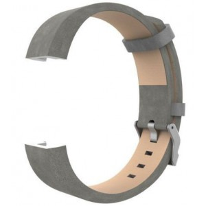 Fitbit Charge 2 Leather Band - Adjustable Replacement Strap - Grey, Large