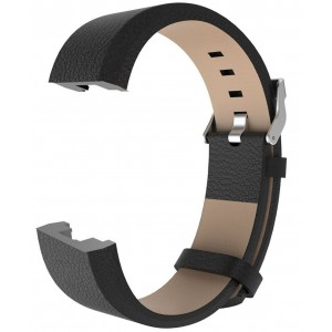 Fitbit Charge 2 Leather Band - Adjustable Replacement Strap - Black, Large