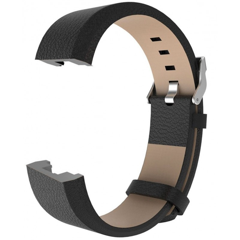 Fitbit Charge 2 Leather Band - Adjustable Replacement Strap - Black - GeeWiz