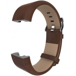 Fitbit Charge 2 Leather Band - Adjustable Replacement Strap - Dark Brown, Large