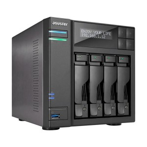 Asustor 4-Bay NAS/ Intel Apollo Lake Quad-Core/ 8 GB SO-DIMM DDR3L/ GbE x 2/USB 3.0 x 4 (Type A x3/ Type C x1)/ WOW (Wake on WAN
