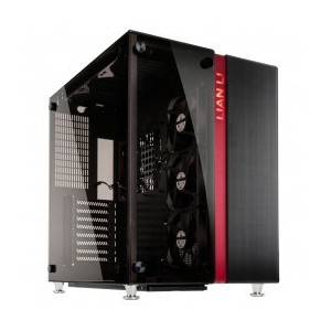 Lian Li PC-O9WRX, Midi Tower, Tempered Glass Front and Side Panel, Black with Red, E-ATX