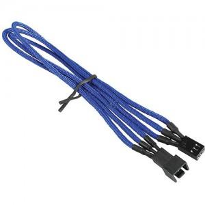 """BitFenix Alchemy Fan Extension Cable (11.8"""", Blue Sleeve/Black Connectors)"""