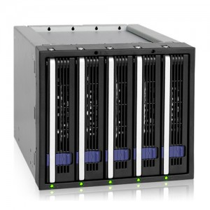 """Icydock  MB155SP-B  5x3.5"""" in 3x5.25"""" Hot Swap SATA HDD Cage"""