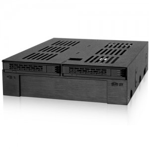 """Icydock MB322SP-B 2 x 2.5"""" SATA/SAS HDD/SSD to 5.25"""" Hot Swap Mobile Rack Cage W/ 3.5"""" Drive/Device Bay- Express Cage"""