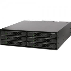 """Icy Dock MB996SP-6SB Rugged Full Metal 6 Bay 2.5"""" SATA HDD & SSD Backplane Cage for External 5.25"""" Bay"""