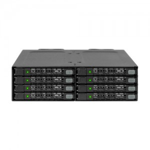 """Icy Dock MB998SP-B  Rugged Full Metal 8 Bay 2.5"""" SATA HDD & SSD (7mm) Backplane Cage for External 5.25"""" Bay"""