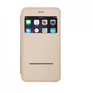 Pqi 6ZF020222R002A Leather Flip Case, Gold, iPhone 6/6S Plus