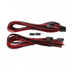 Corsair CP-8920176 Red/Black Premium Individually Sleeved PCIe Cables With Single Connectors