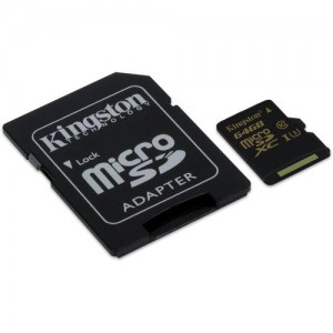 Kingston SDCG/64GB 64GB UHS-I Class U3 Micro SDHC Memory Card with Adapter