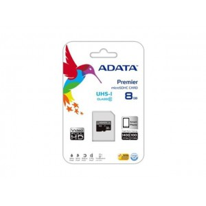Adata AUSDH8GUICL10 8GB microSDHC/SDXC UHS-I U1 Memory Card with One Adapter