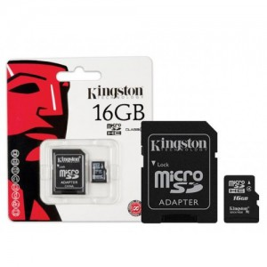Kingston SDC4/16GB 16GB microSDHC Memory Card Class 4 With SD Adapter