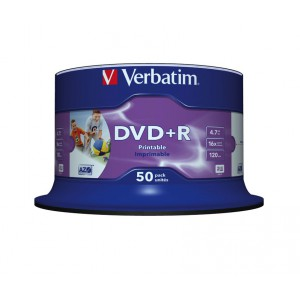 VERBATIM - 4.7GB DVD+R (16X) - PRINTABLE NO ID SPINDLE (PACK OF 50)
