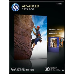 HP ADVANCED GLOSSY PHOTO PAPER 250 G/M-13 X 18 CM BORDERLESS/25 SHT