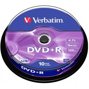 VERBATIM - 4.7GB DVD+R (16X) - MATT SILVER SPINDLE (PACK OF 10)