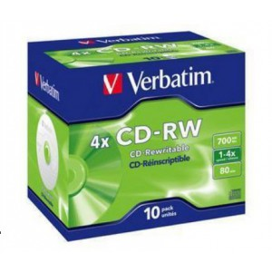 VERBATIM - 700MB - CD-RW- JEWEL CASE - (BOX OF 10)