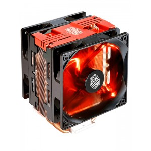 COOLERMASTER HYPER 212 LED TURBO TOWER BASED AIR BLOWER CPU COOLER 120MM RED LED FAN BLACK TOP COVER.