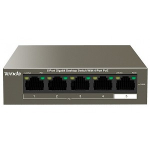 TENDA 5 Port Gigabit Desktop Switch 4 Port PoE -TEG1105P-4-63W