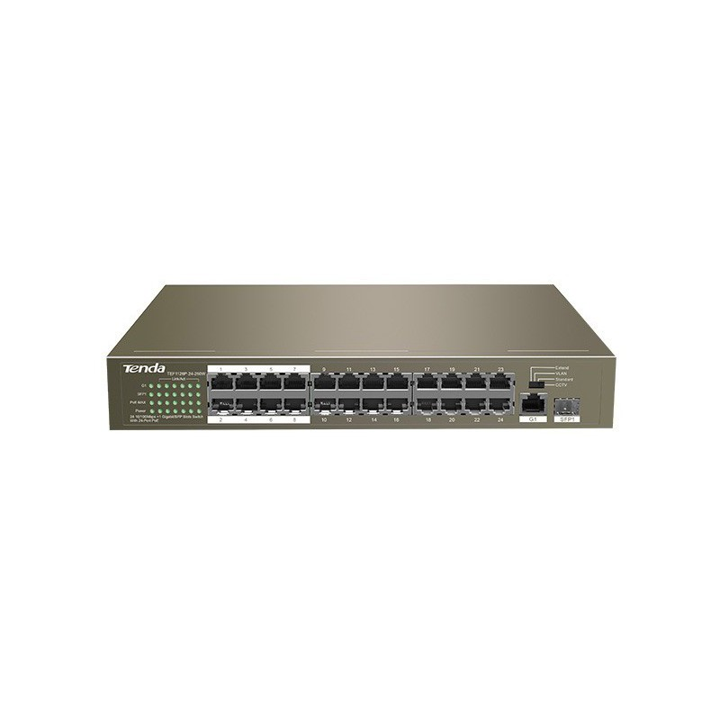 Tenda 24 Port Ethernet Switch with 24 Port PoE-TEF1126P-24-250W