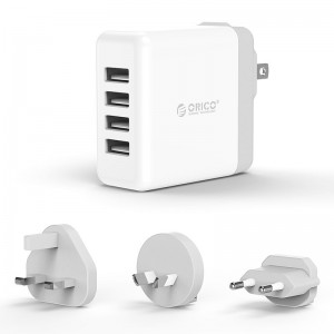 Orico DSP-4U-US-WH 4 Port 34W UK/AU/EU Universal Travel Wall Charger White