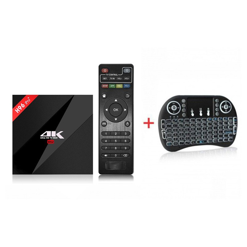 H96 PRO PLUS Smart TV Box + i8 Backlit Mini Wireless Keyboard With Touchpad  Infrared Remote Control - GeeWiz