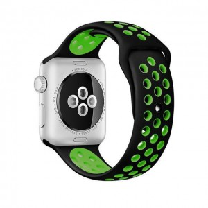 Apple Multi-colour Silicone Watch Strap 42mm-Black Green
