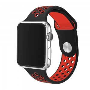 Apple Multi-colour Silicone Watch Strap 38mm-Black|Red