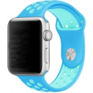 Apple Multi-colour Silicone Watch Strap 42mm-Baby Blue, Turquoise