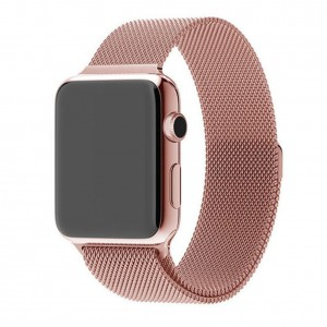 Apple Stainless Steel Magnetic Milanese Watch Strap 42mm-Rose Gold