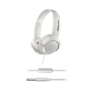 Philips SHL3075WT BASS+ On-Ear Headphones with Mic (Sound Isolation, Flat Folding) - White