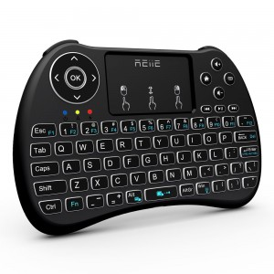 Reiie H9+ Backlit Wireless Mini Handheld Remote Keyboard with Touchpad for PC,Raspberry Pi 2/3, Android TV Box ,Windows 7 8 10