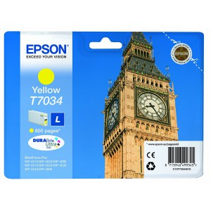 Epson C13T70344010  T7034 Yellow L Ink Cartridge (800 Pages)