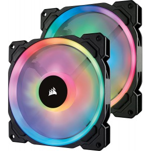 Corsair CO-9050074  LL Series LL140 RGB 140mm Dual Light Loop RGB LED PWM Fan 2 Fan Pack with Lighting Node Pro