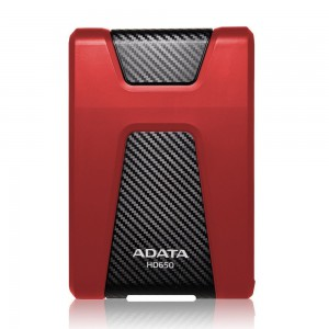 Adata AHD650-1TU3-CRD Anti-Shock External Hard Drive, Red