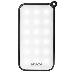 Adata AD8000L-5V-CBK Outdoor 8000mAh Water-Resistant LED Panel 200 Lumen Dual USB Fast Charging Power Bank - Black