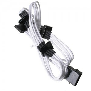 BitFenix BFA-MSC-M4SA20WK Alchemy Molex to 4 x SATA power extension - White Sleeve/Black