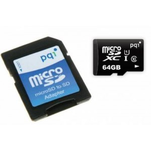 PQI PQI64GMSDU10 64 GB Micro SDXC Class 10 UHS 1 Memory Card