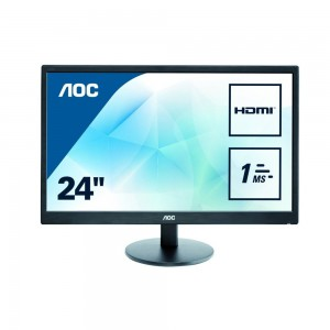AOC E2470SWH 23.6 inch 1 ms Response Time LED Monitor, HDMI, DVI, VGA and Speakers
