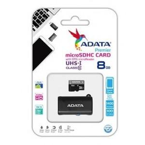 Adata AD-MCMSDOTGHC101-8GB 8GB Micro SDHC C10 UHS-I +USB OTG Micro Reader